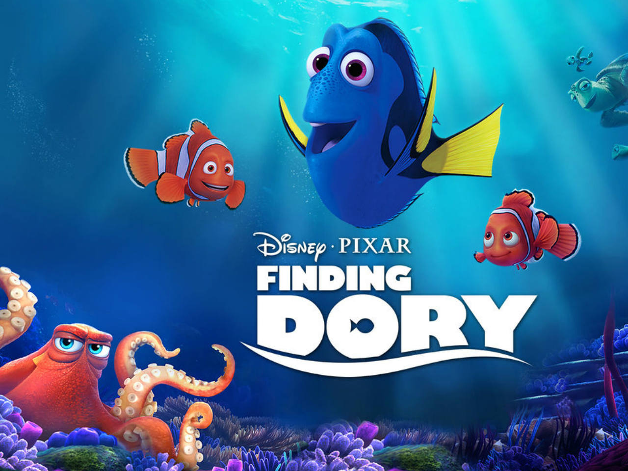 A movie poster of the kids' movie Finding Dory