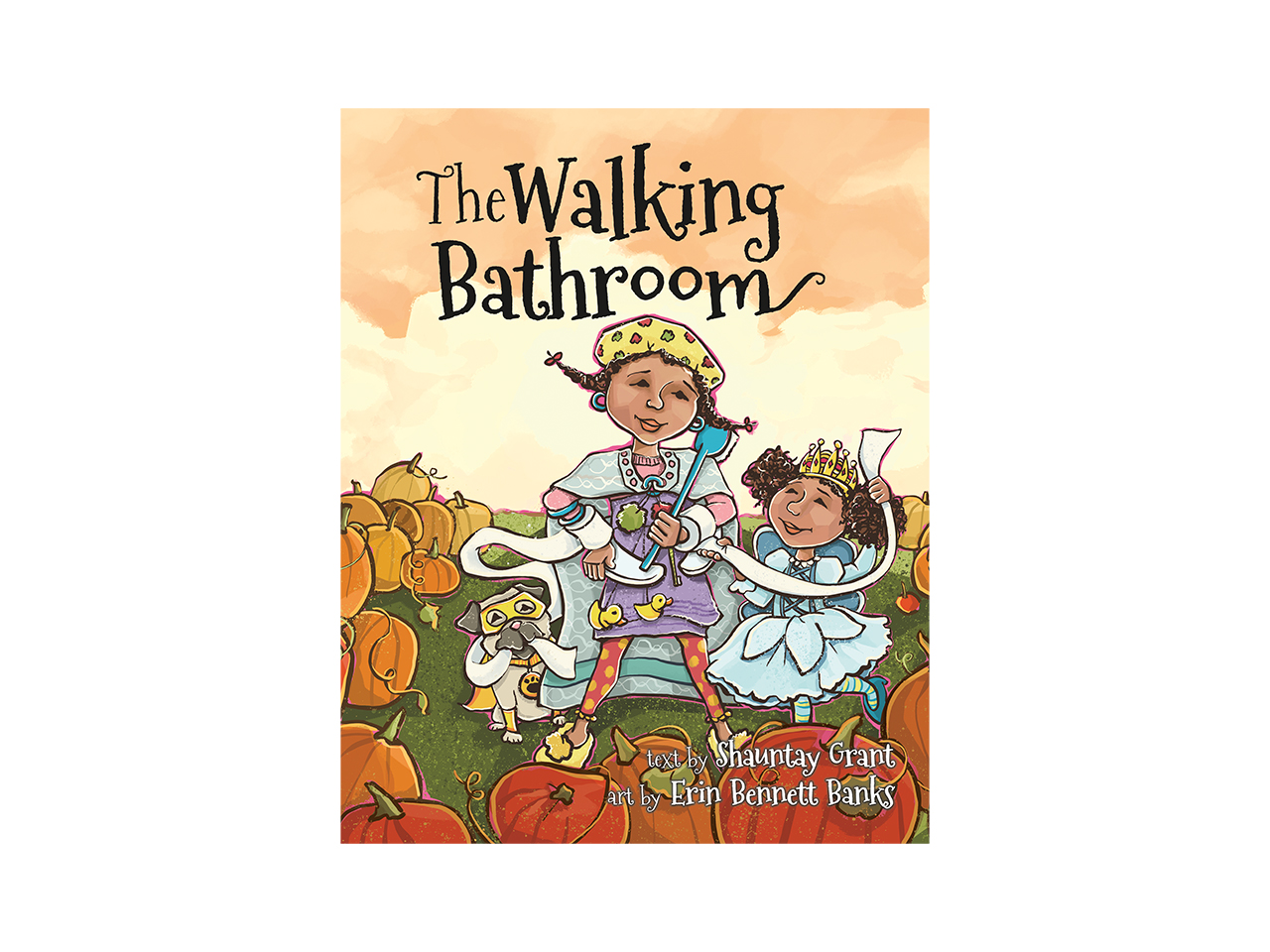 Cover art for the Walking Bathroom showing two illustrated kids dressed up in costumes walking through a pumpkin patch