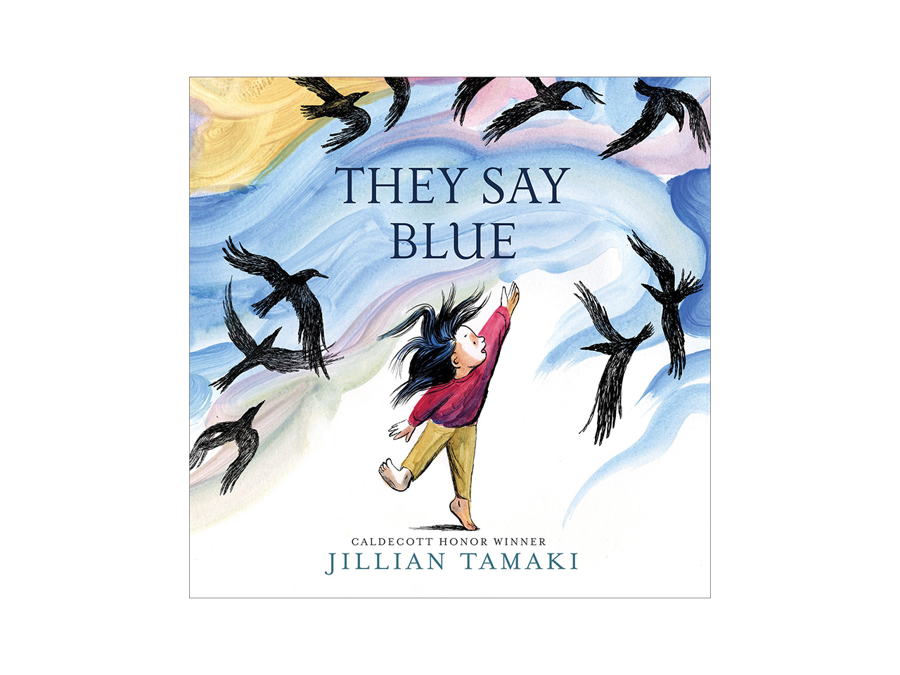 Cover art for TheySay Blue showing an illustrated girl playing in the wind with a bunch of crows