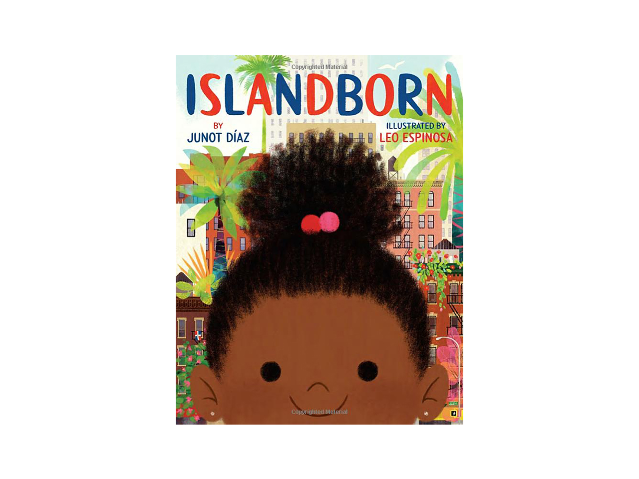 Cover art for Islandborn showing an illustrated girl's face in front of a city with lush jungle trees