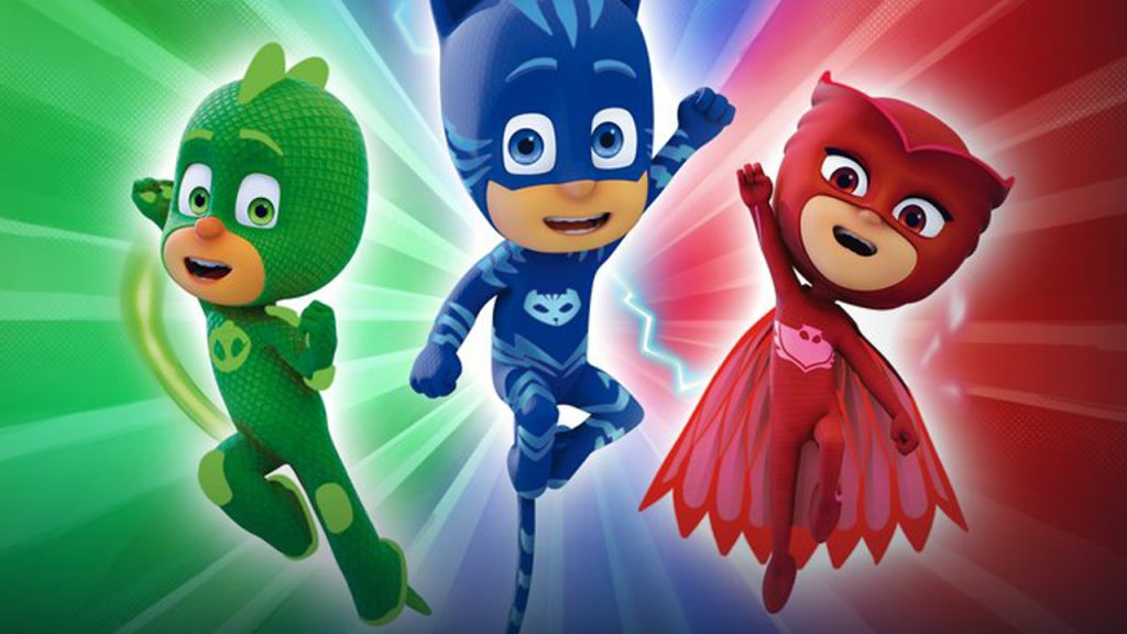 PJ Masks characters on a coloured background