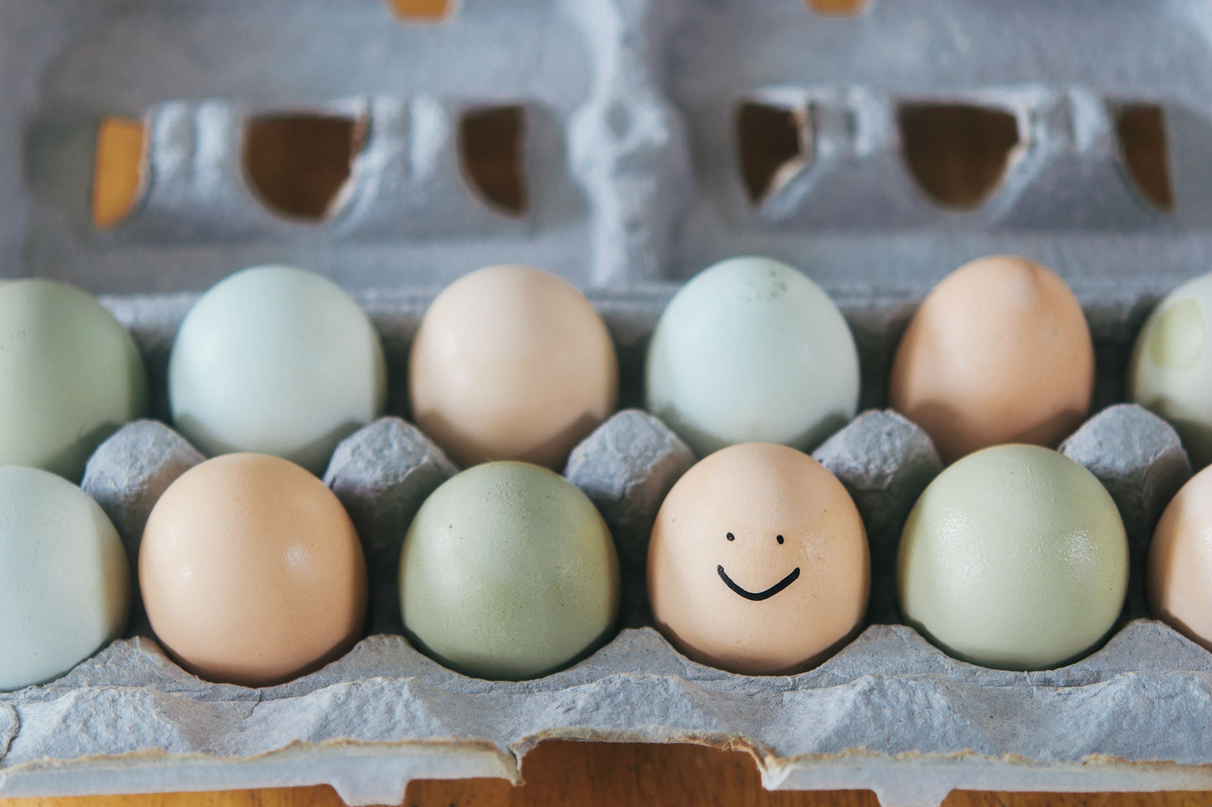 Eggs in a carton and one has a smiley face drawn on it