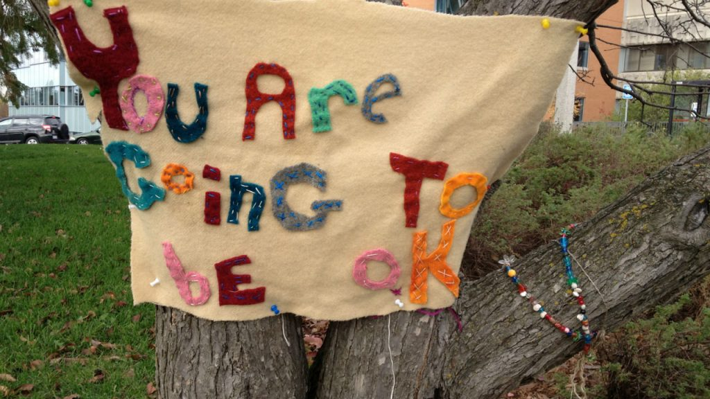 A hand crafted sign thats you are going to be okay.