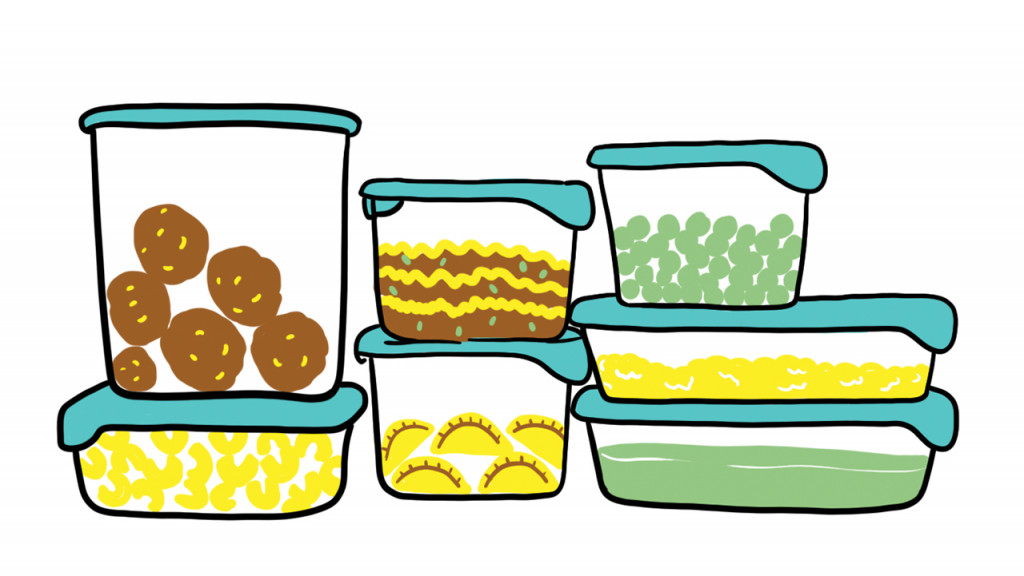 illustration of tupperware filled with food