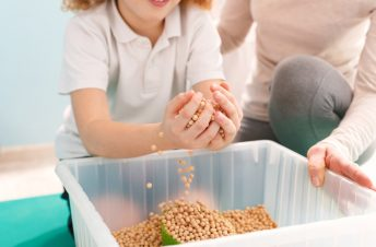 a young boy with his hands in a clear bucket of chick peas