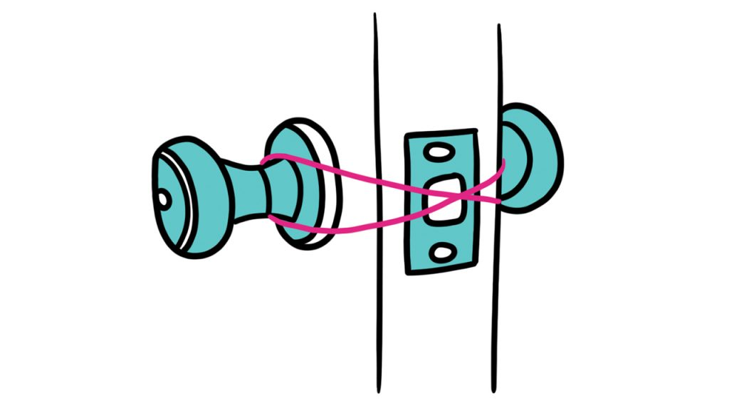 Illustration showing a rubber band tied across a door latch