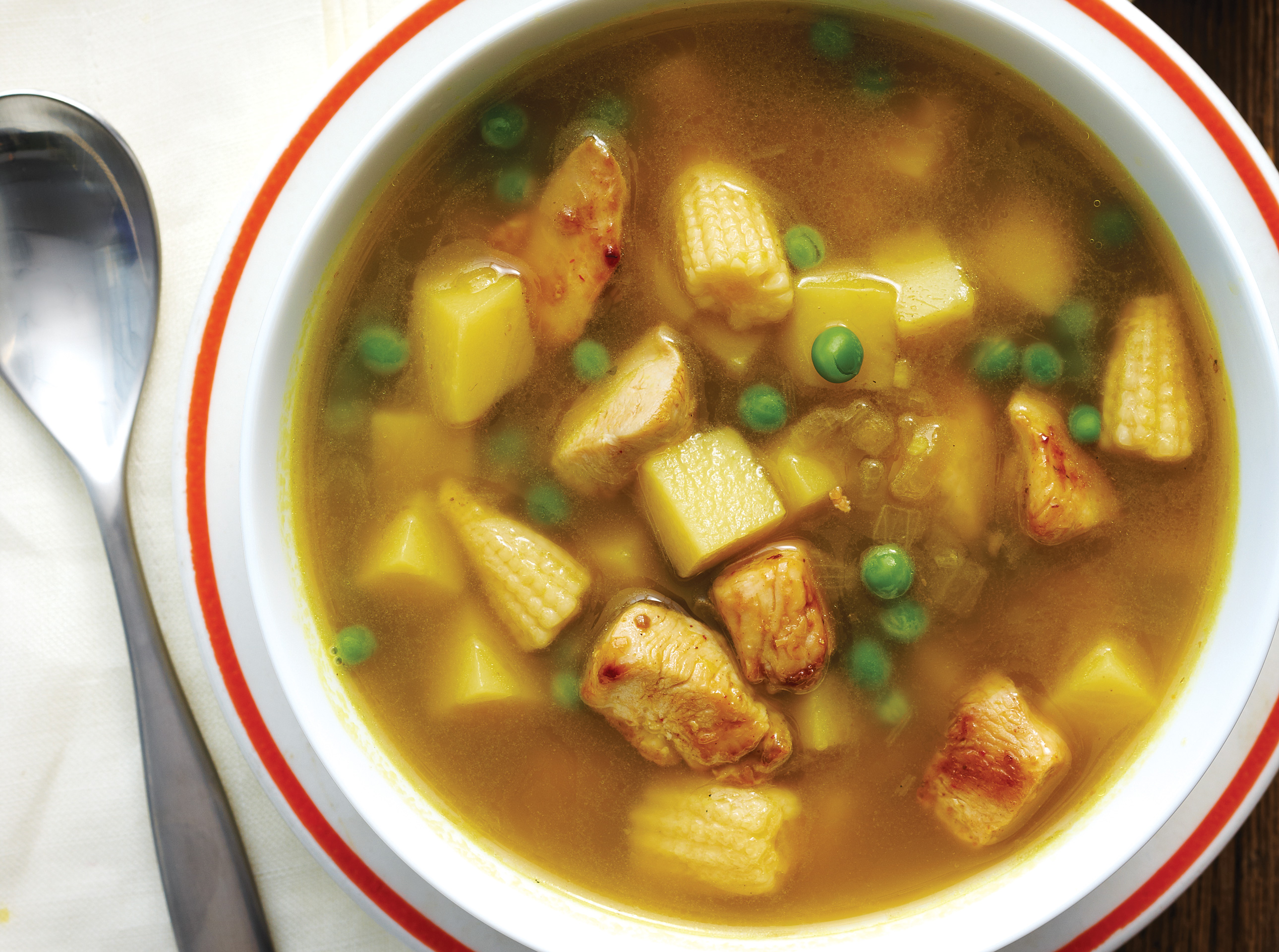 Chicken and Baby Corn Curry Soup