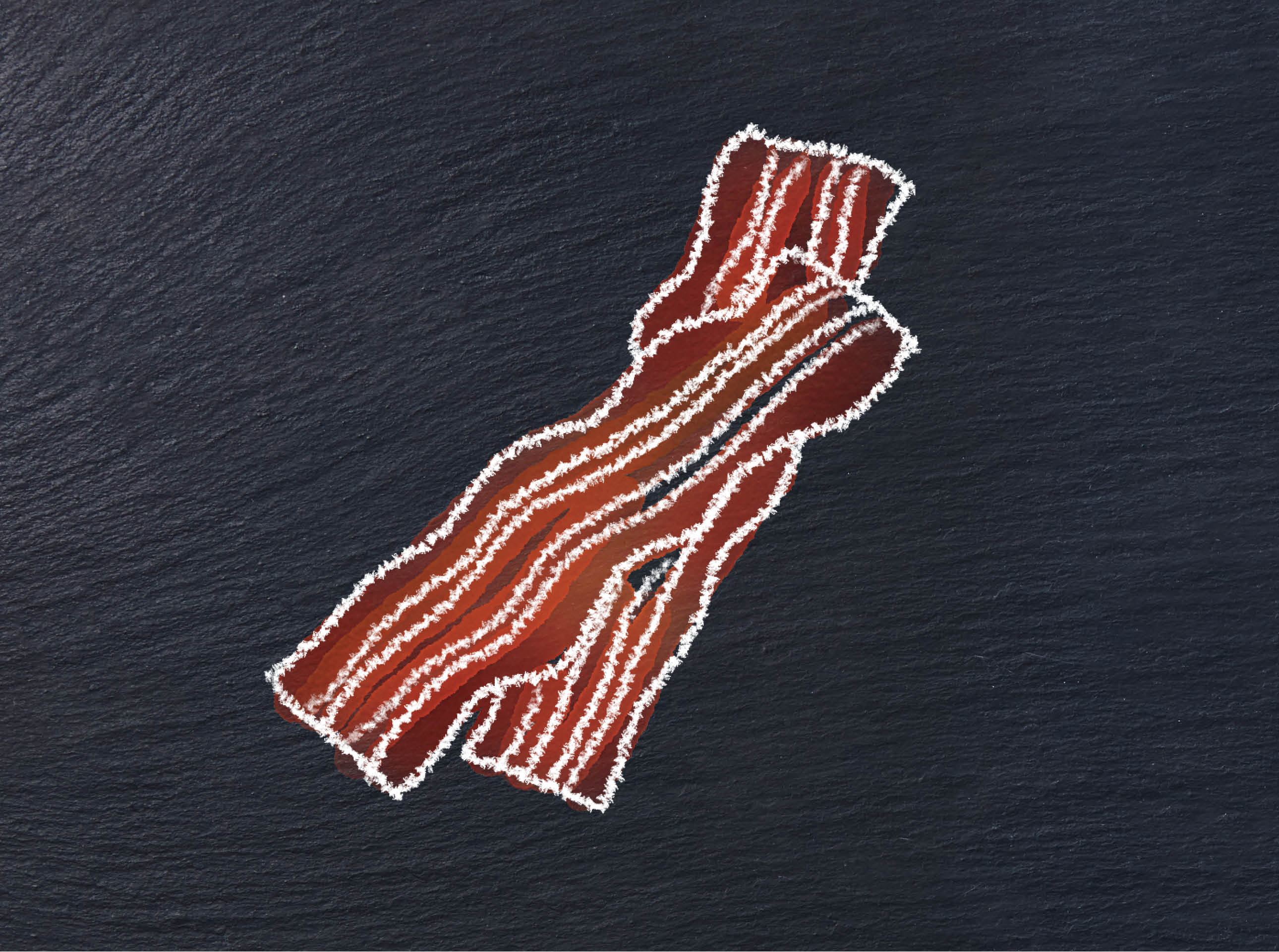 illustration of two slices of bacon