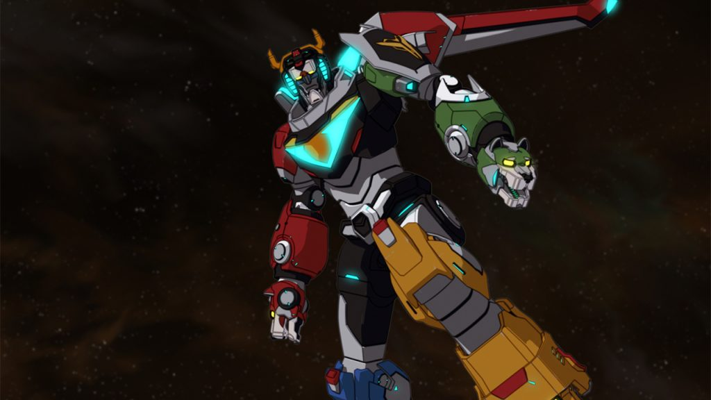Promo image for Voltron Legendary Defender season 6 showing Voltron flying through space