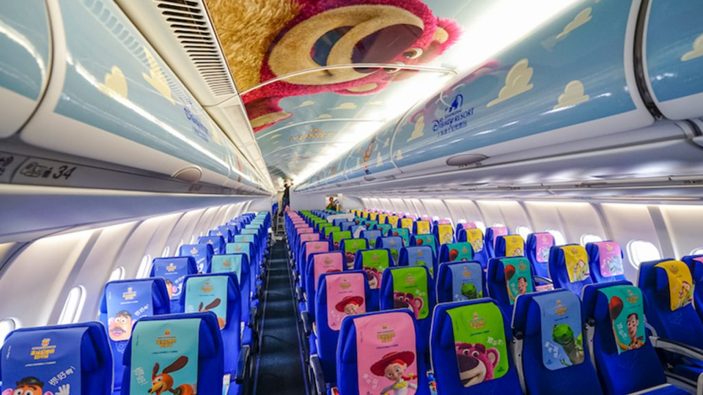 Inside of the Toy Story-themed airplane