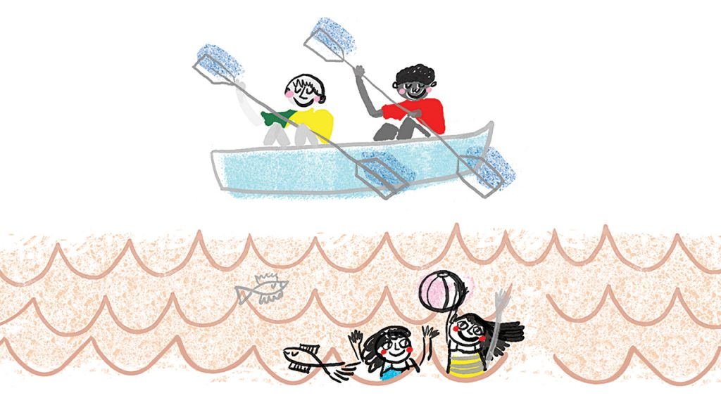 Illustration of kids canoeing and playing in the water at camp
