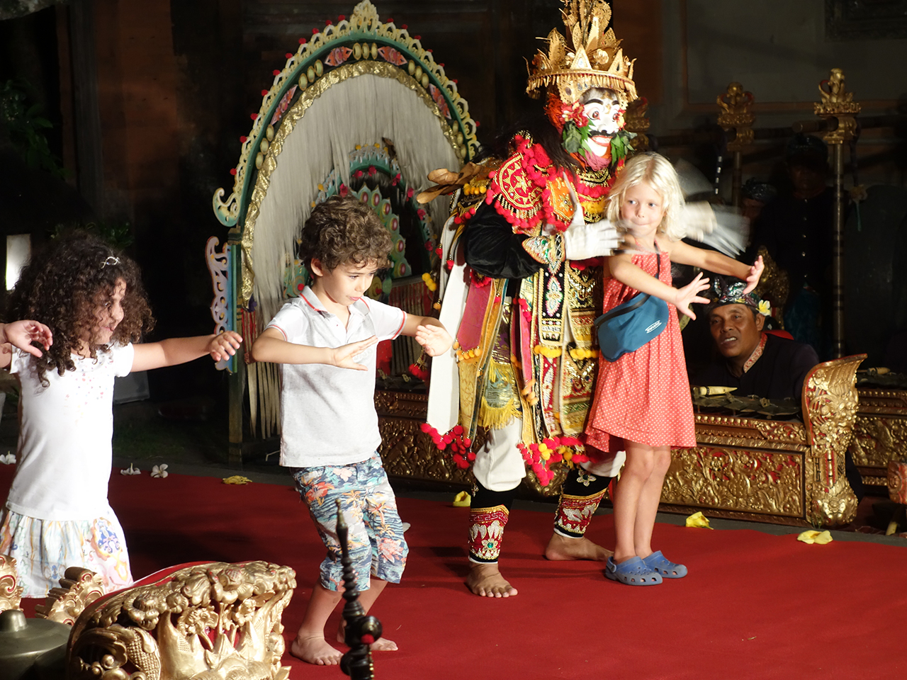 Salomon family dancing in Bali