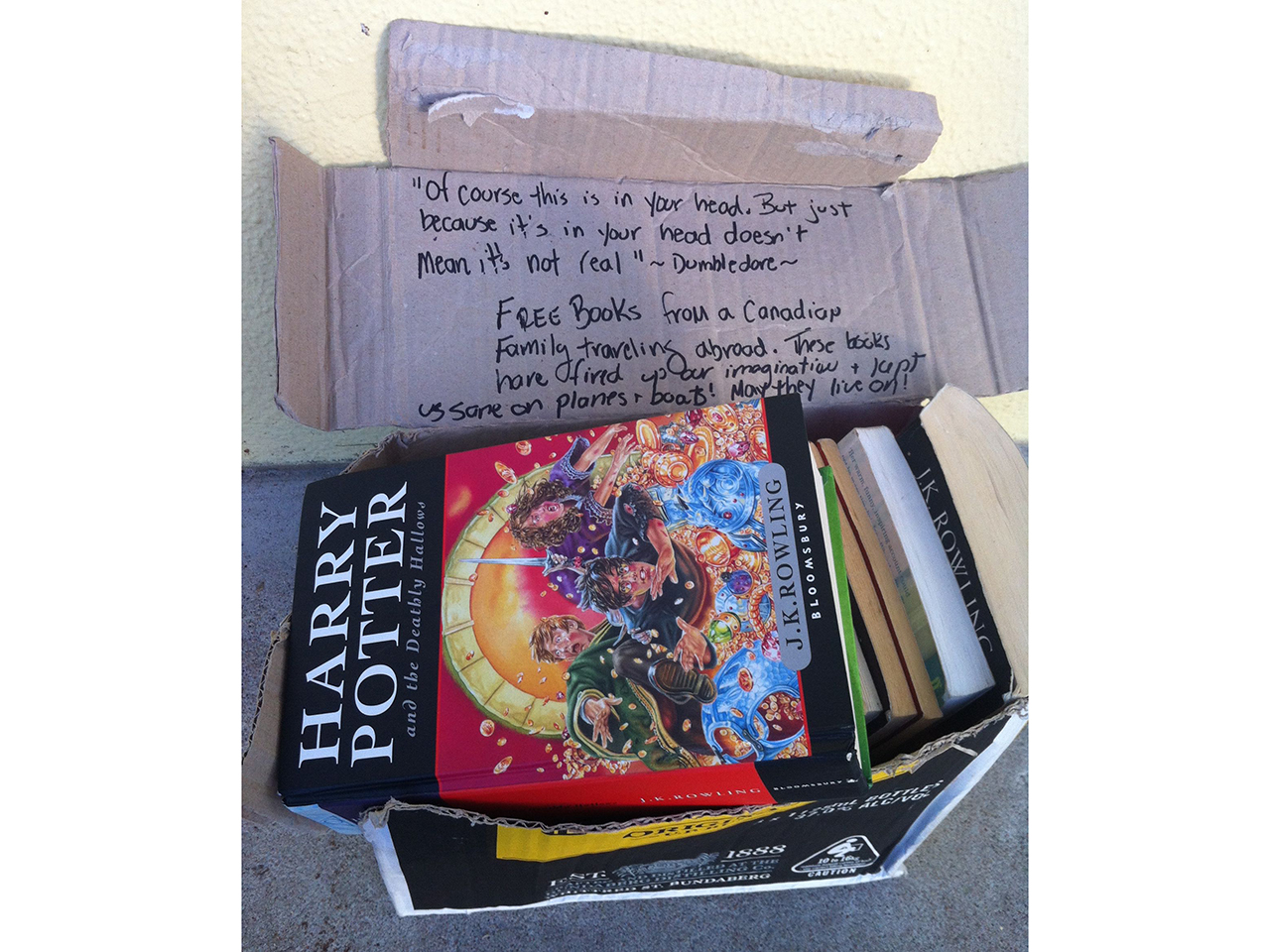 Box of Harry Potter books left behind with a note
