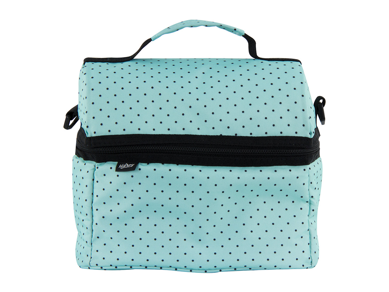 Black and Turquoise Polka Dot Lunch Bag