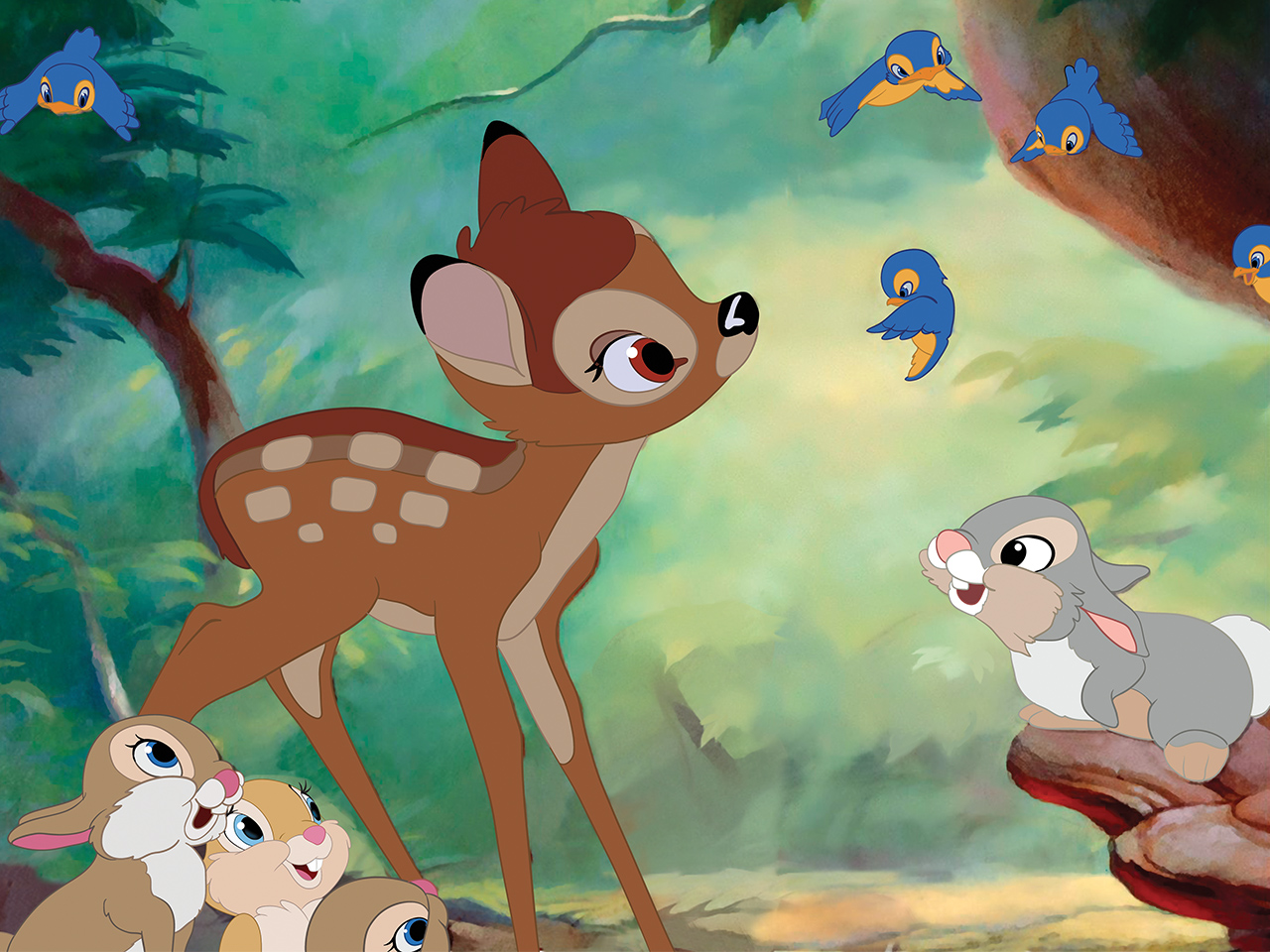 A still from the kids' animated movie Bambi