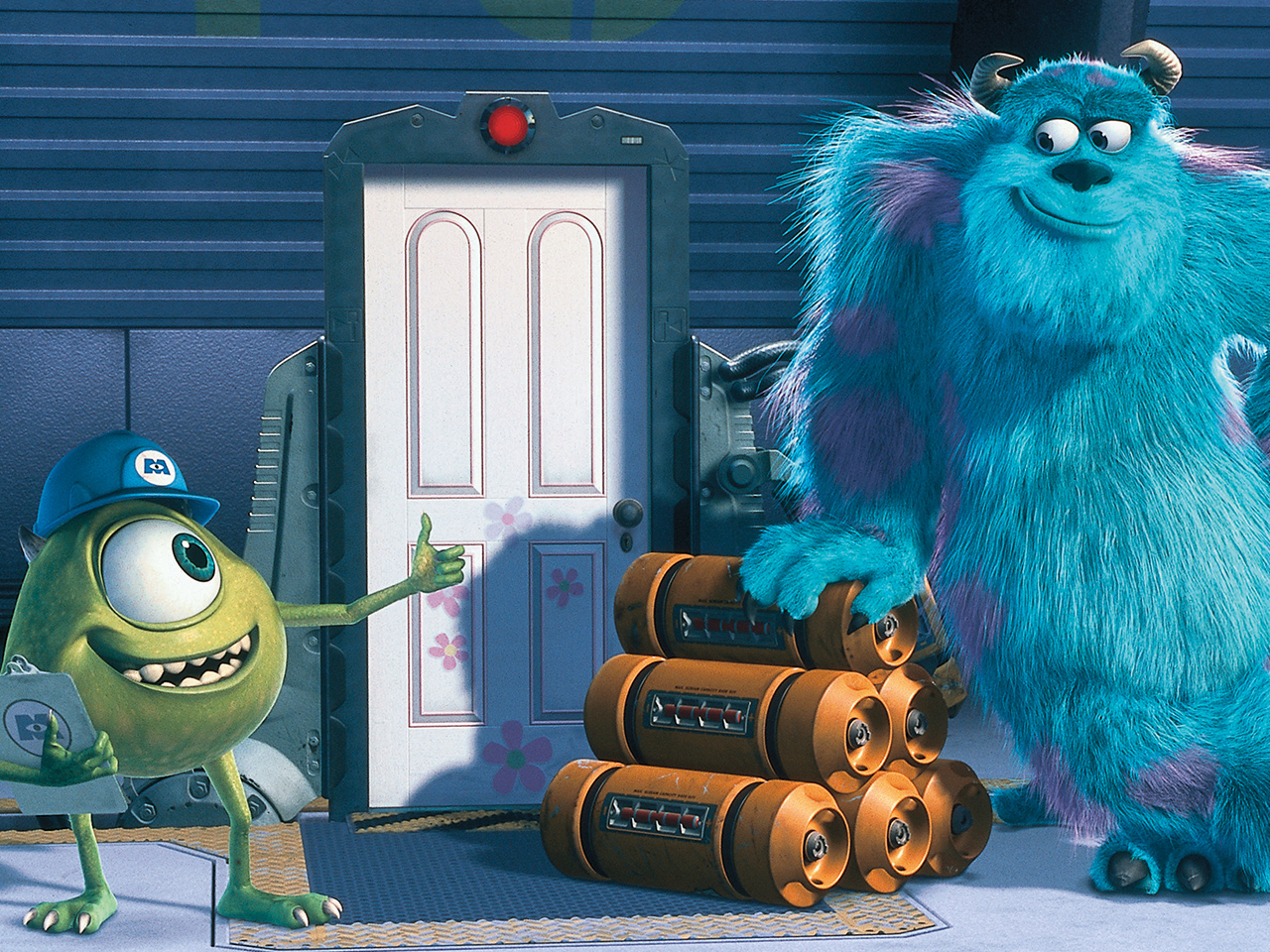 A still from the kids' animated movie Monsters Inc.