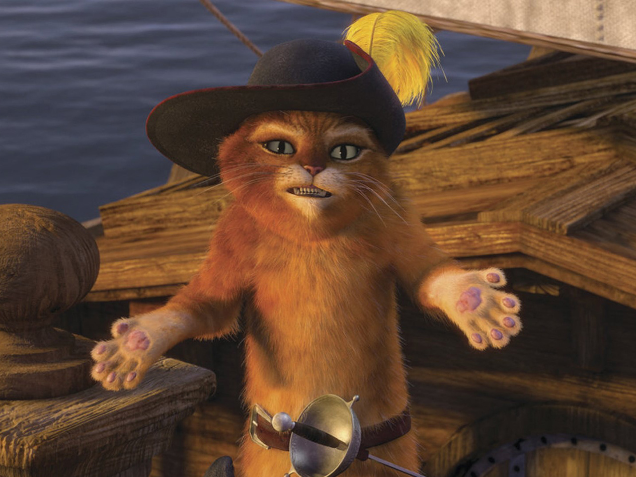 A still from the kids' animated movie Puss in Boots