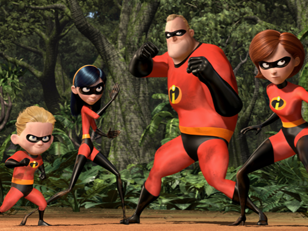 A still from the animated kids' movie The Incredibles