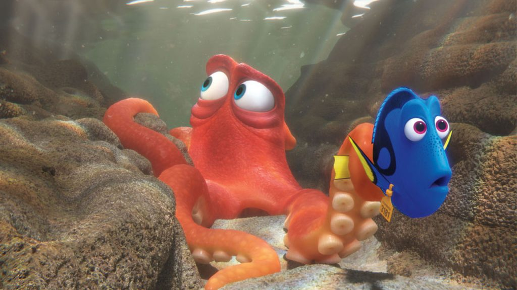 Dory and Hank the octopus travel through crevice in a shallow pool