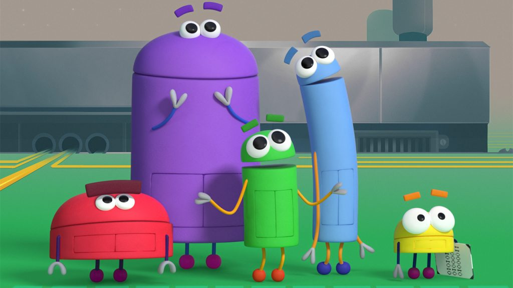 the multicoloured storybots stand and look up
