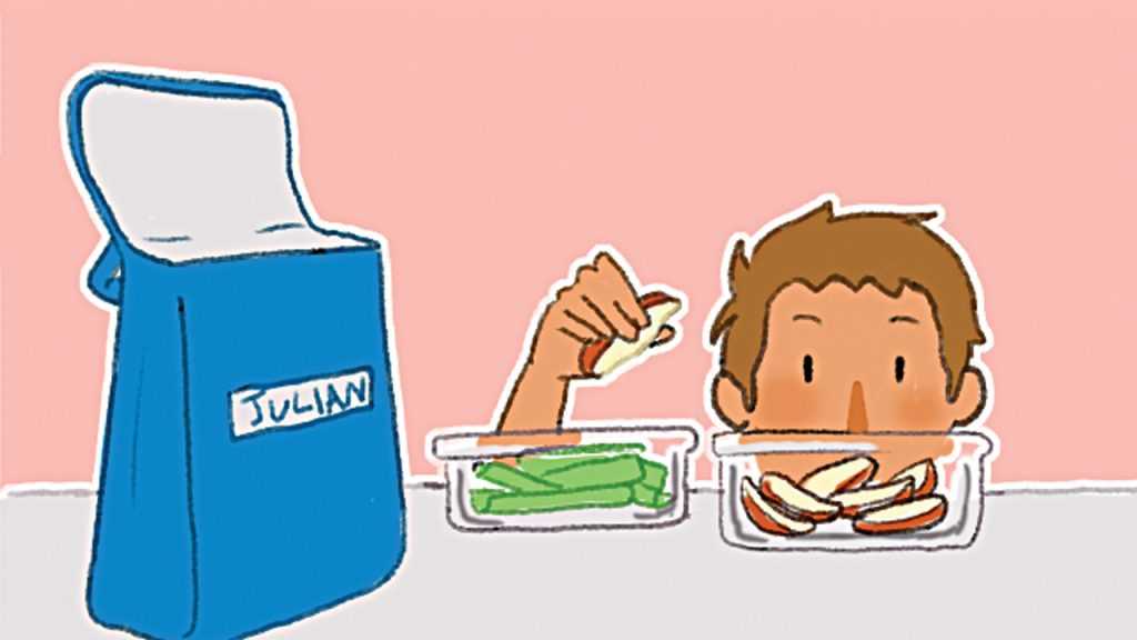 Illustration of a kid putting apple slices in lunch containers