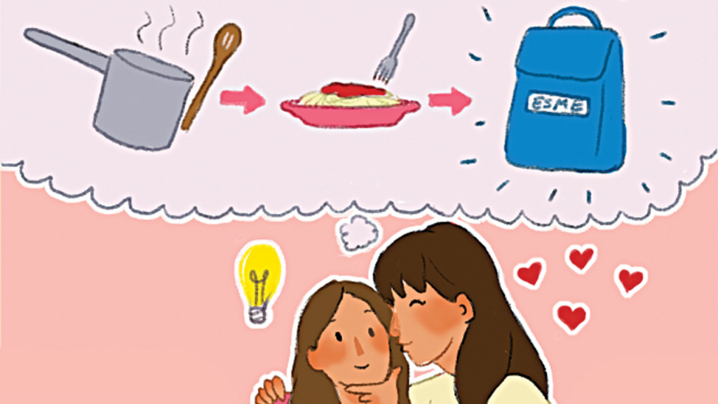 Illustration of a mom kissing her daughter on the cheek with a thought bubble above her showing her idea for packing leftovers for lunch