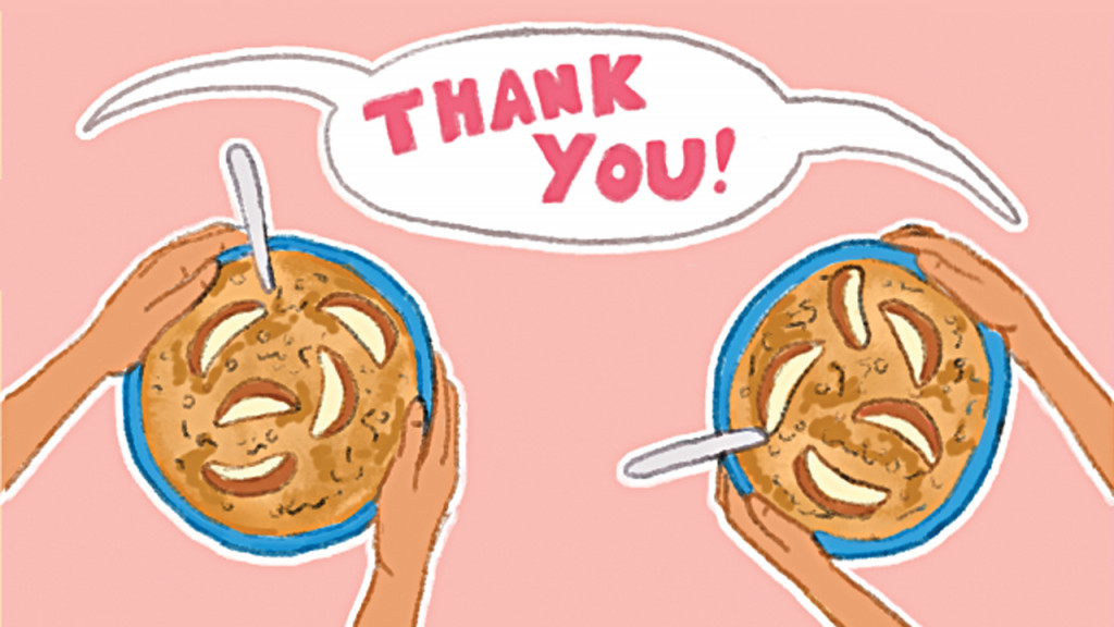 Illustration of kids hands holding bowls of oatmeal and a shared speech bubble saying Thank You!