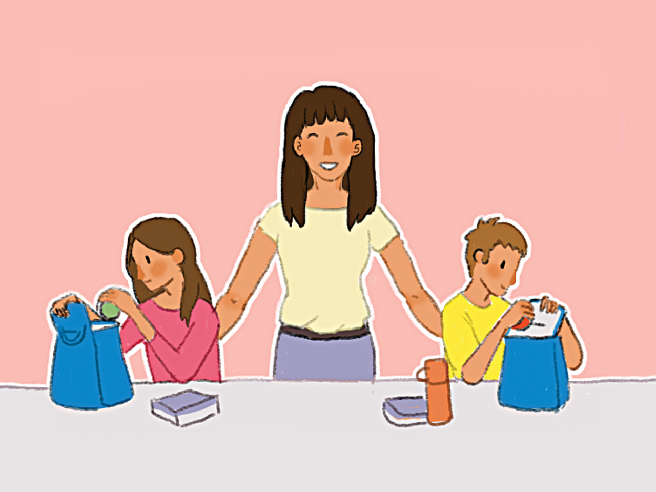 Illustration of a happy mom with her kids next to her packing their lunches