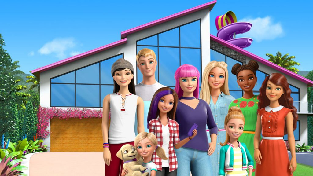 Promo image for Barbie Dreamhosue Adventures showing Barbie and her friends standing in front of a house