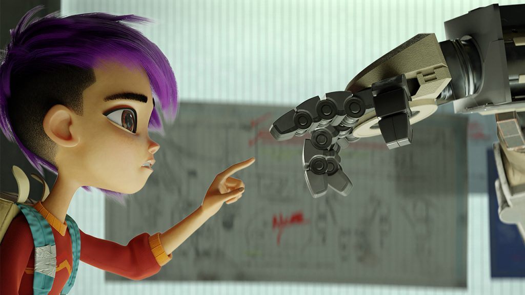 promo image for Next Gen showing an animated girl about to touch fingers with a robot arm