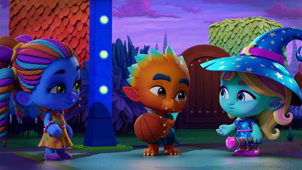 Promo image from Super Monsters Monster Party: Songs showing three little monsters playing basketball