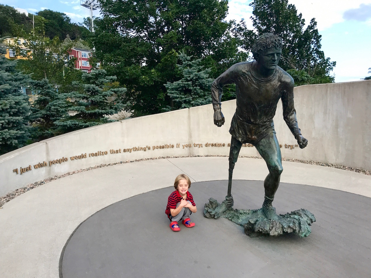 Terry Fox statue with Charlie