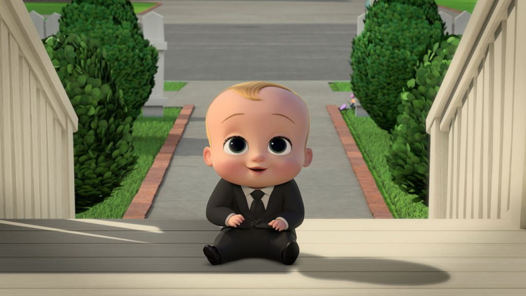 Promo image for Boss Baby Back In Business showing a baby wearing asuit sitting on a front porch
