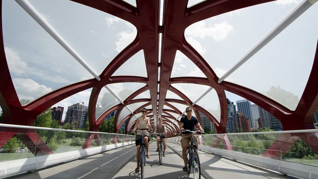 Calgary bike pathways_Peace Bridge_