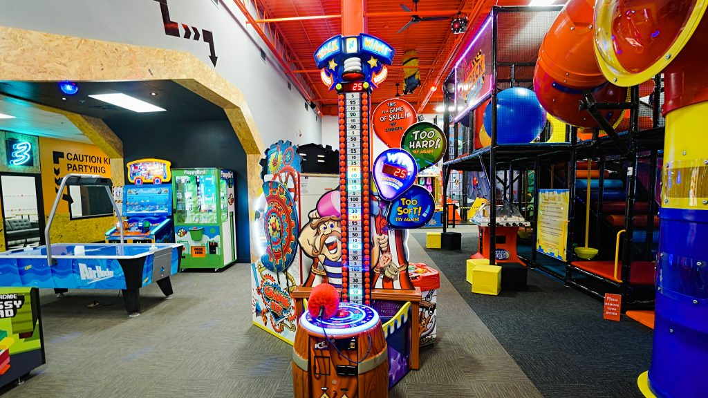 Arcade games and play structure at The Wreckroom