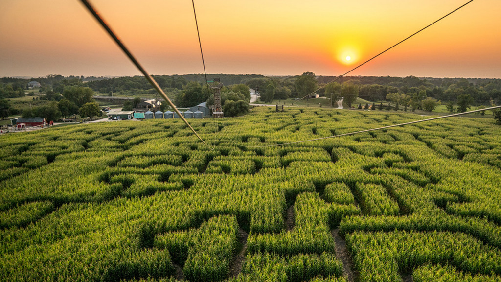 First person view of a zipline going over a corn maze