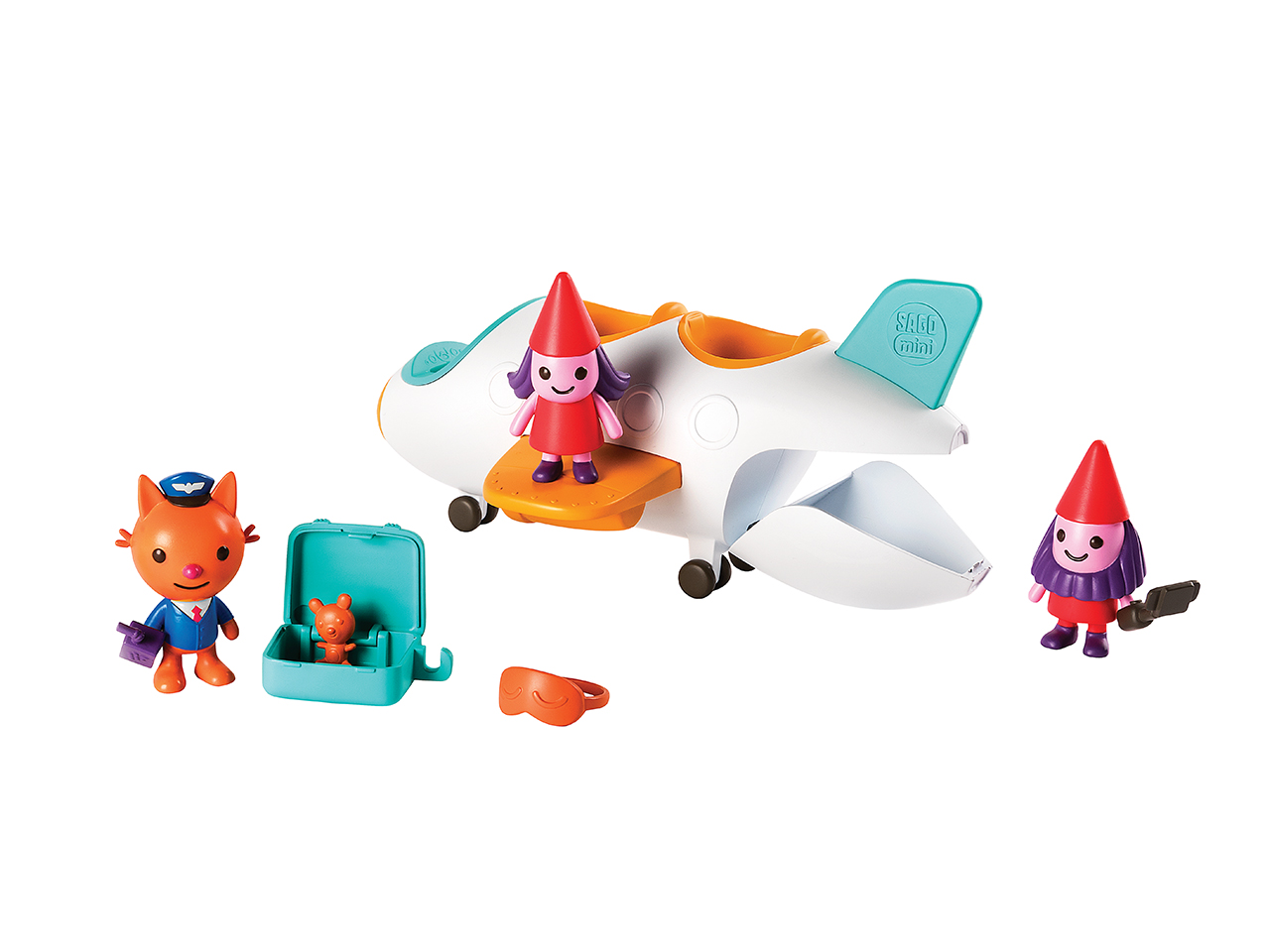 Sago Mini Jinja's Jet: A toy set featuring figurines, a jet and travel accessories