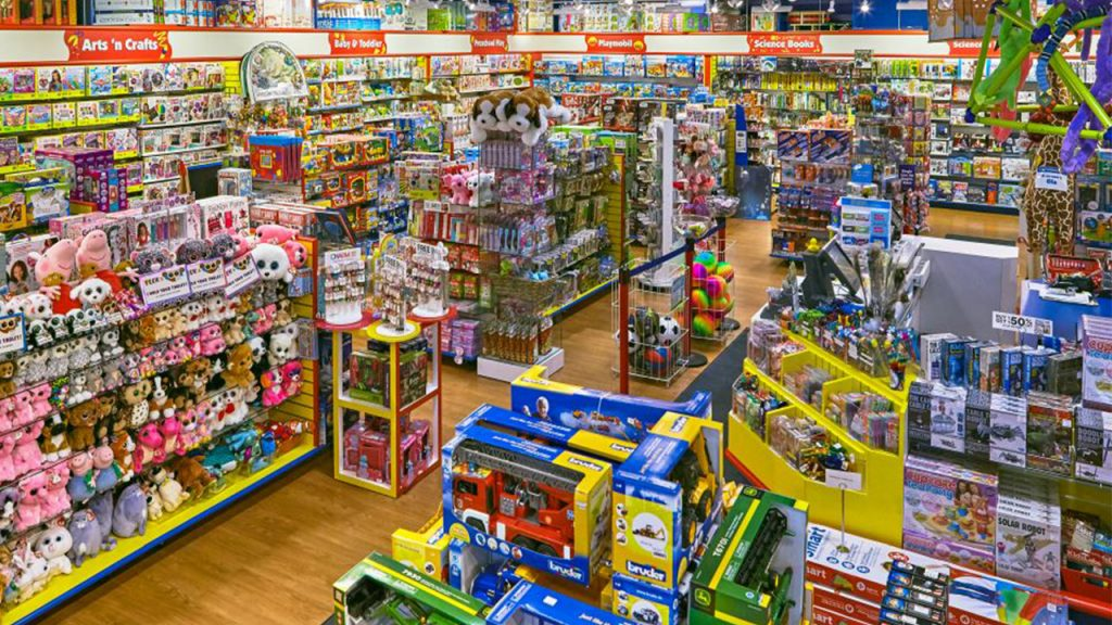 aerial view of toy store packed with boxed toys