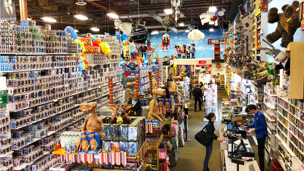 aerial view of massive toy store