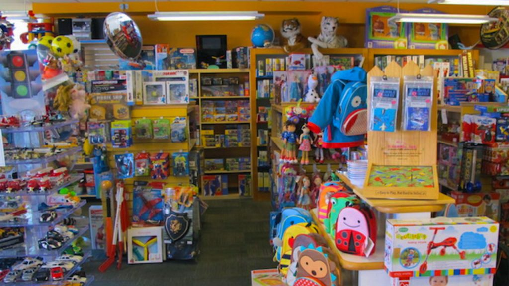 interior shot of a packed toy store