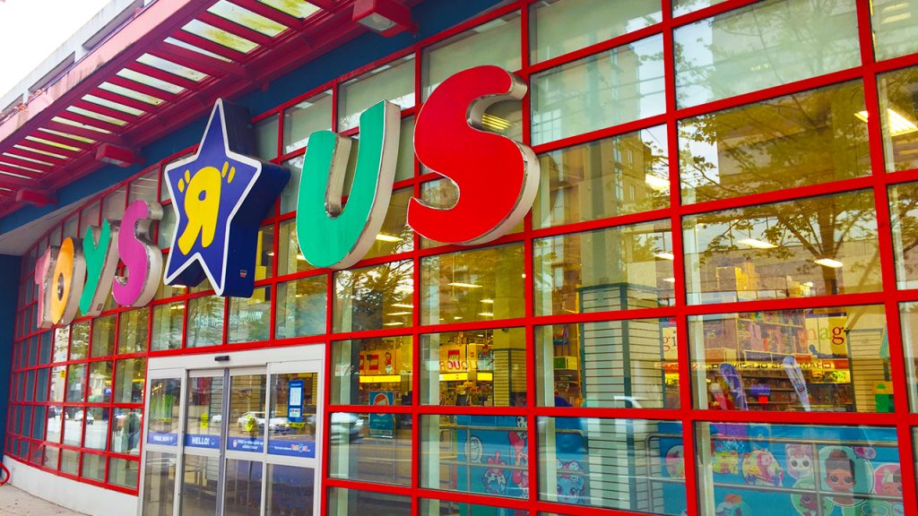 exterior shot of Toys R Us sign