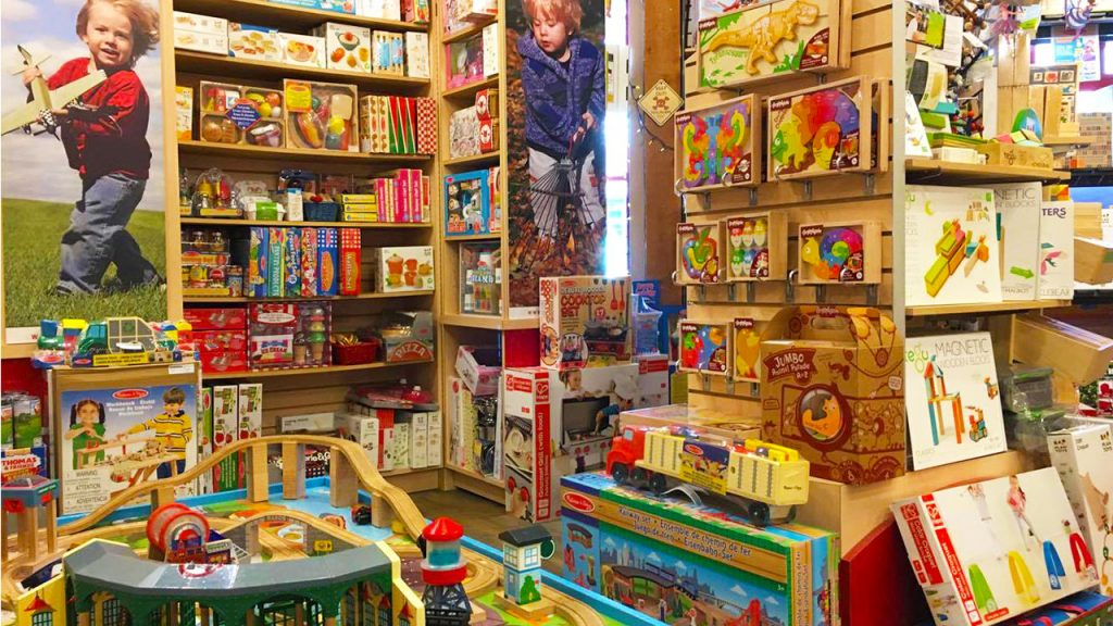 shelves of quality hand-crafted wooden toys