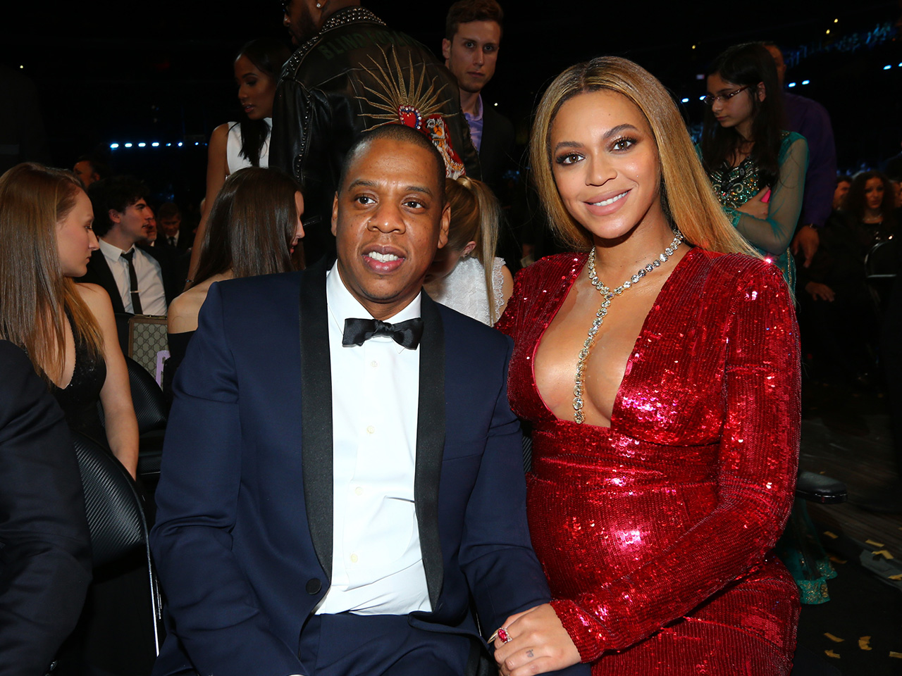 Beyonce and JayZ sitting at an awards show