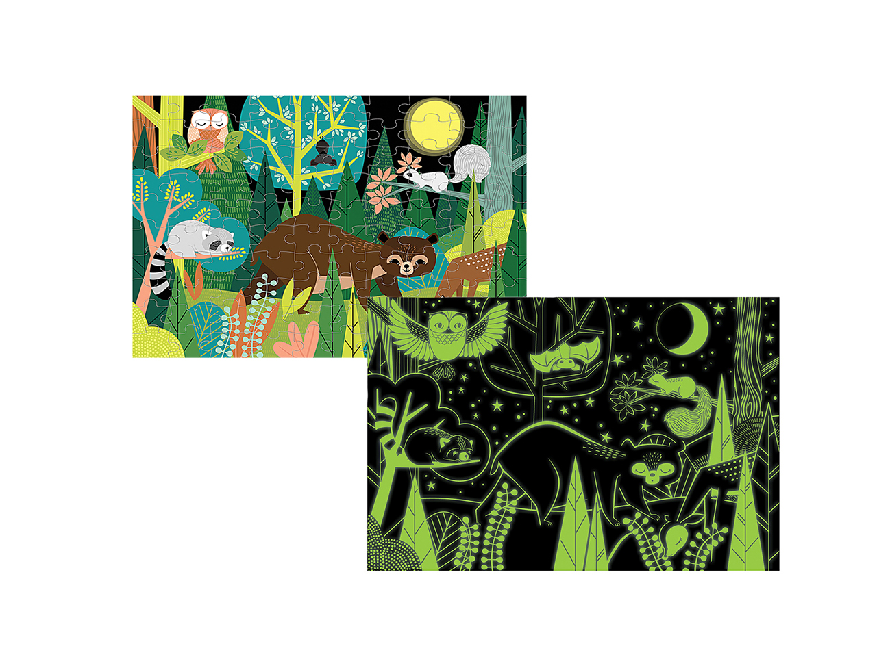 In The Forest Glow In The Dark Puzzle: Puzzle featuring animals with a secondary glow-in-the-dark design