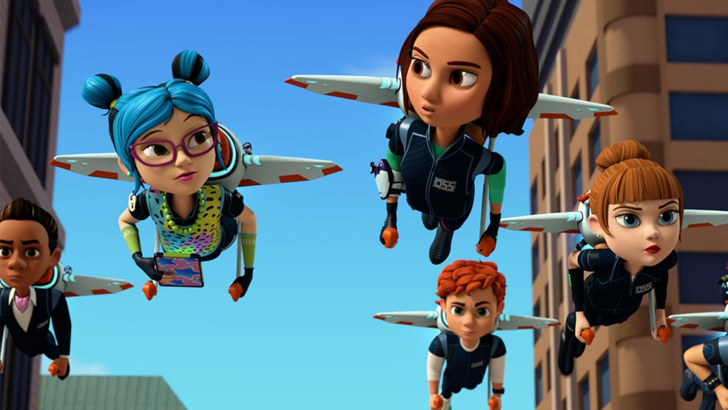 Promo image for Spy Kids Mission Critical showing animated kids flying through a city on jetpacks