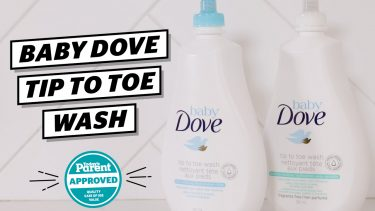 Bottles of Baby Dove Tip to Toe Wash with the Today's Parent Approved seal