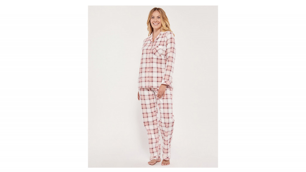 woman in pink plaid pjs