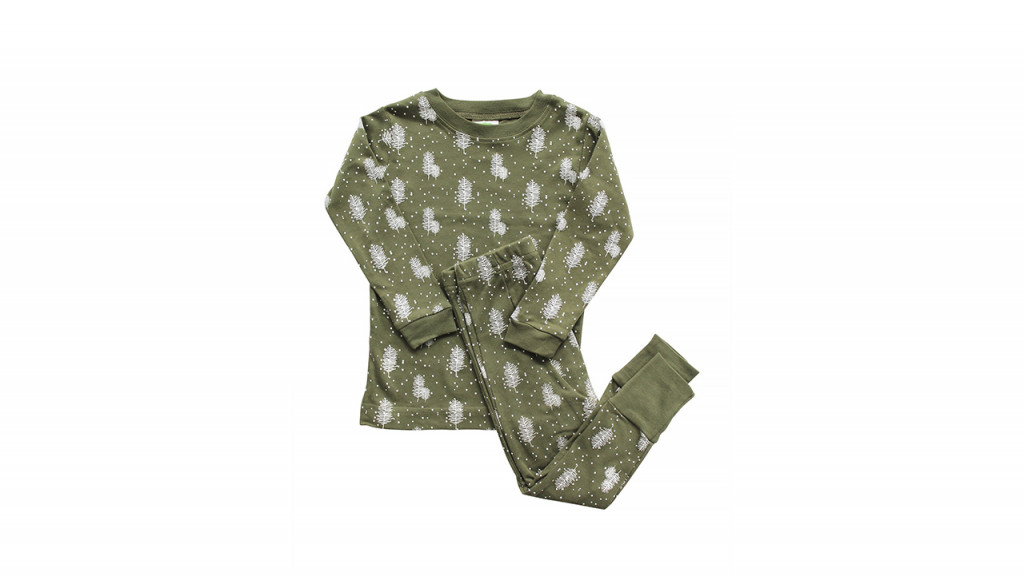 green and white organic pjs
