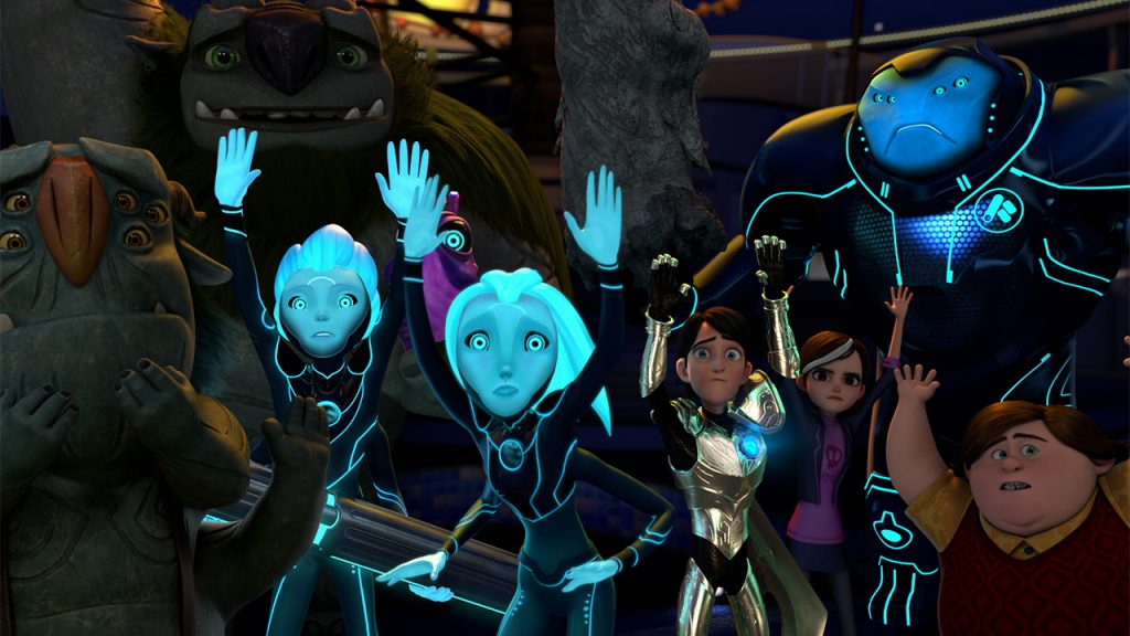 Promo image for 3Below Tales of arcadia showing a group of people and aliens with their hands up in surrender