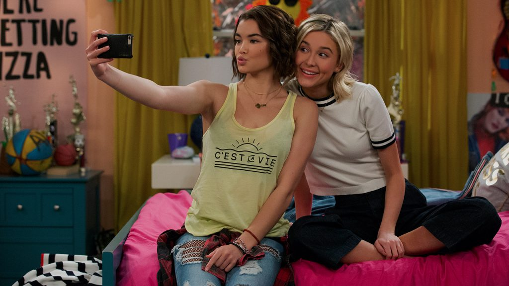 Promo image for Alexa and Katie showing two girls taking a selfie